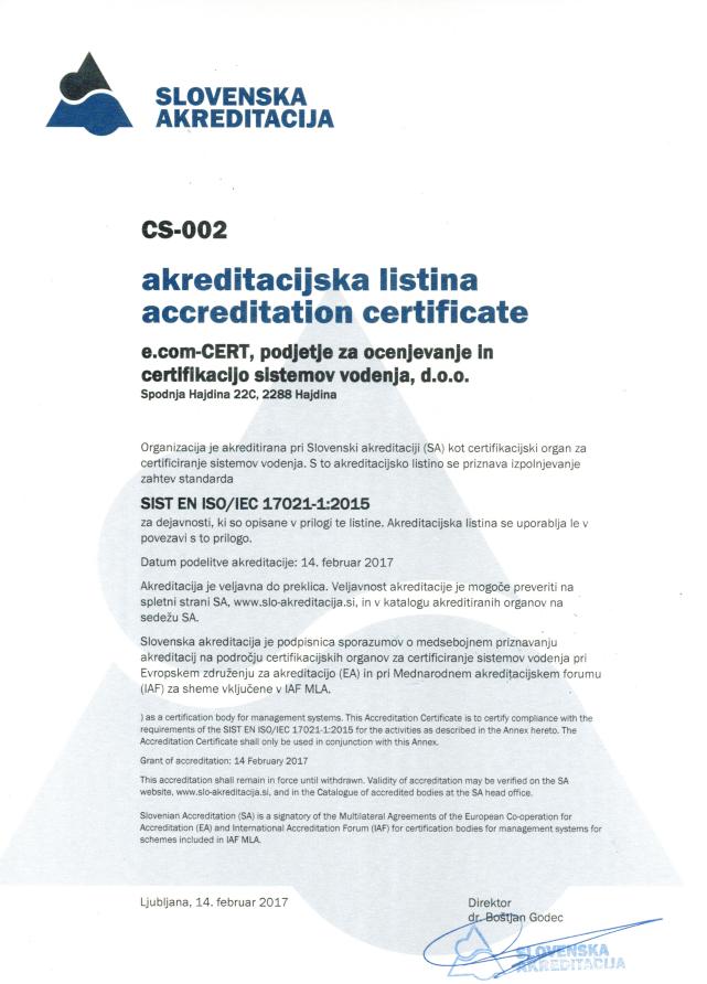 E Com Cert D O O Accreditation Certificate